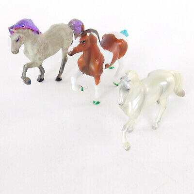 Breyer Reeves 2 Miniature Galloping Horses Gray Brown/white 1 Silver Stallion