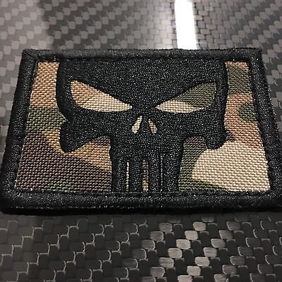 EMBROIDERED OCP MULTICAM PUNISHER STYLE SKULL MORALE PATCH HOOK VELCRO® SEAL SF