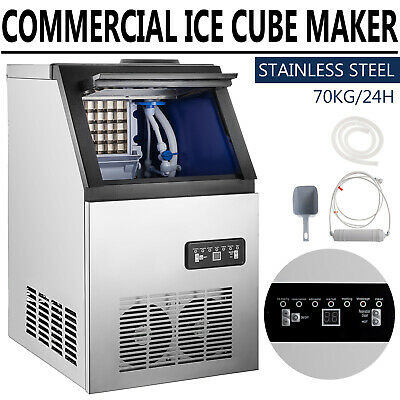 150lbs Commercial Ice Maker Stainless Steel Under Counter Ice Cube Machine