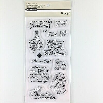 Recollections Holiday Wishes Clear Stamp Set Christmas Greetings Messages Phrase ()