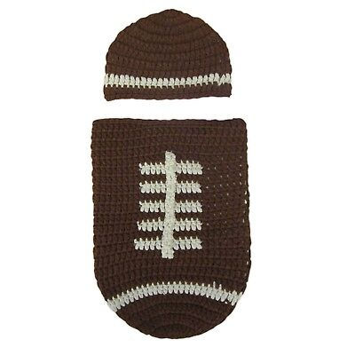 INFANT BOYS PHOTO PROP KNITTED FOOTBALL COCOON BAG OUTFIT - Football Photo Props