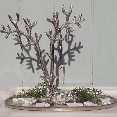 Colmore Tablett Schale Hirsch Weihnachtsdeko Alu vernickelt gebürstet 37x14x32  online kaufen