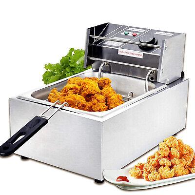 1800w 8l Commercial Electric Deep Fryer Wbasket Stainless Steel Restaurant