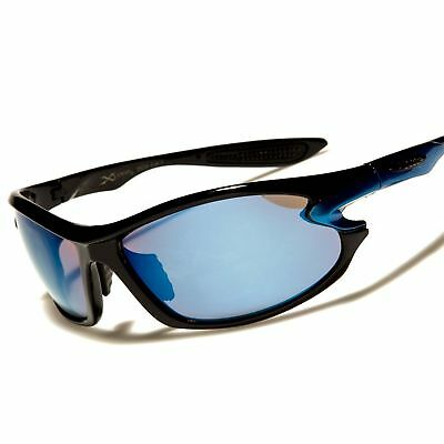 Cool Athletic Golf Baseball Blue Mirrored Lens Rectangle Wrap Sport Sunglasses