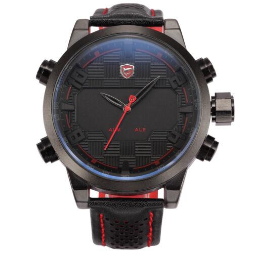 Shark Sport Men's LED Digital Date Day Calendar Black Leather Strap Quartz Watch