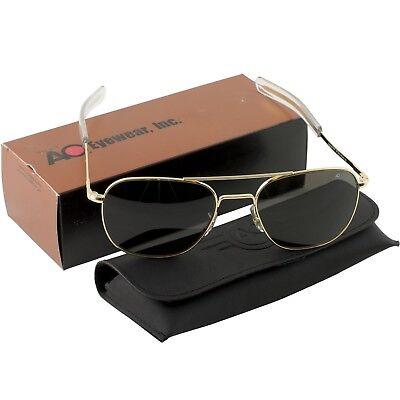 AO American Optical Military Aviator Gold Frames 57 mm Sunglasses Gray (Military Aviators)