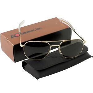 AO American Optical Military Aviator Gold Frames 57 mm Sunglasses Gray Lens