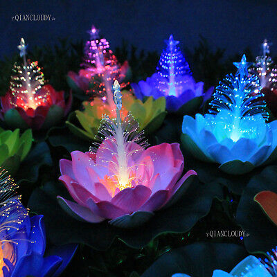 Artificial Floating Lily Lotus Flowers Christmas tree Optic Fibre LED lights Floating Flower Lights