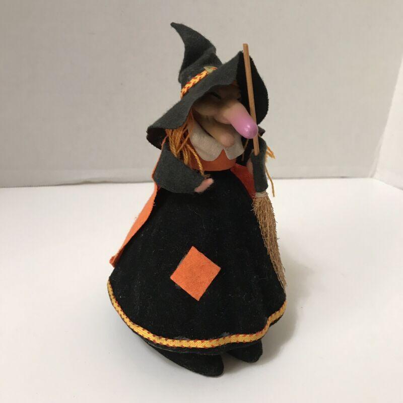 Vtg Halloween Decor Kitchen Witch Felt Flocked Rubber Face Broom Taiwan