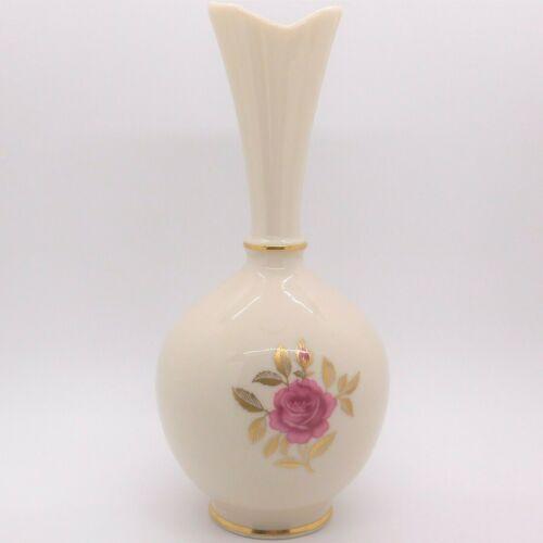 """Vintage Lenox Bud Vase, Fine Ivory Porcelain, Red Rose, Gold Trim, Round, 8""""Tall"""
