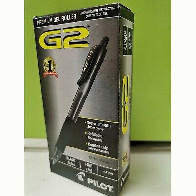 Pilot G2 Refillableretractable Rolling Ball Gel Pens Fine Point Black 12 Ct