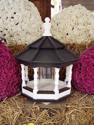 Vinyl Bird Feeder Amish Homemade Handmade Handcrafted White & Black