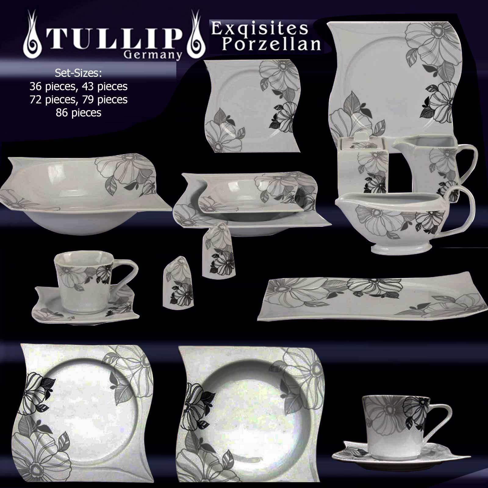 Servizio Cena in Porcellana set da caffè piatti tavolo 6+12 Pers  CH FIORE NERO