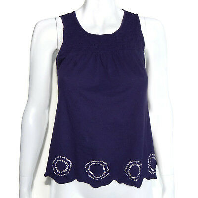 C. Keer Anthropologie Royal Blue Rusched Front Boho Circle Trim Empire Top sz 4