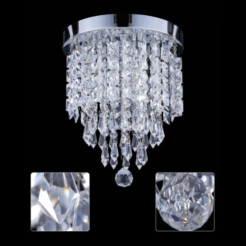 Flush Mount 3-Light Crystal Ball Chandelier Ceiling Fixture
