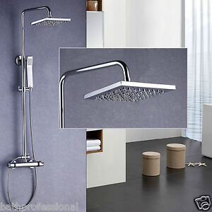 TWIN HEAD THERMOSTATIC SHOWER MIXER SQUARE CHROME BATHROOM BATH EXPOSED VALVE 02