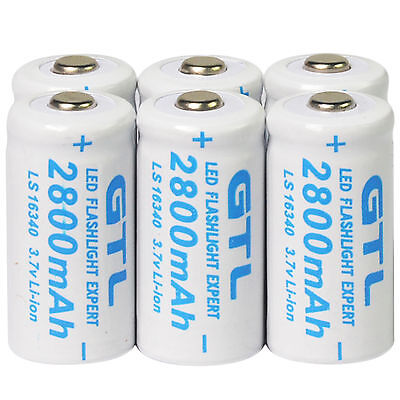 6Pcs Cr123a 123A Cr123 16340 3 7V 2800Mah Rechargeable Battery Cell For Toys