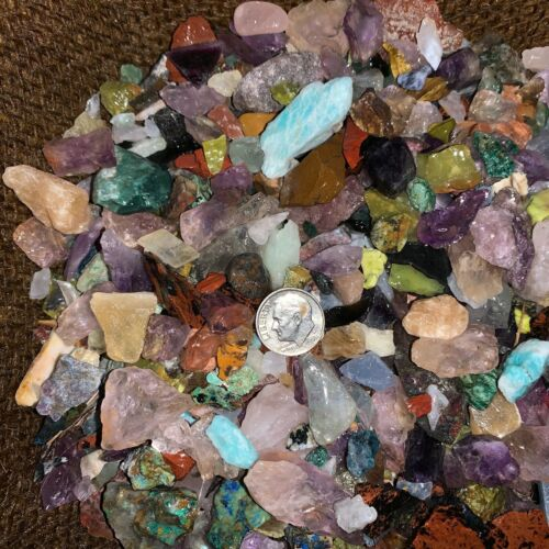 2000 Carat Lots of SMALL Natural Tumble Rough -VERY Nice + FREE Faceted Gemstone