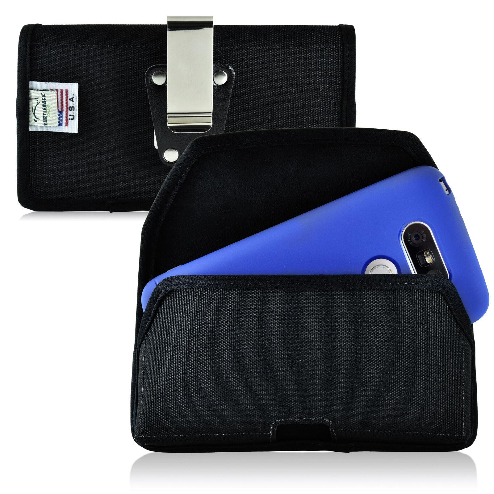 turtleback-lg-g5-nylon-black-pouch-holster-cell-phone-case-metal-belt-clip