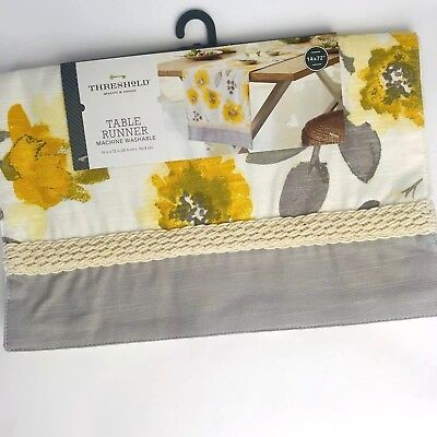 "Yellow Table Runners (Threshold Gold Yellow Leaf Table Runner gray white Floral New 14""x 72"")"