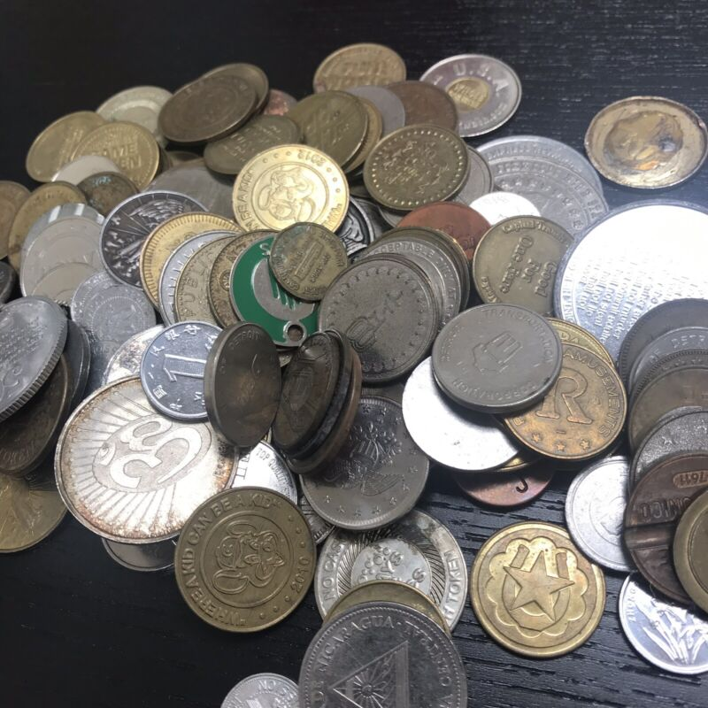 5 Lbs Bag Novelty Tokens/Coins Circulated, Over 500 Coins!