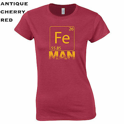 Cool Super Hero Costumes (288 Fe Man Womens T-Shirt Iron funny chemistry cool college costume super hero)