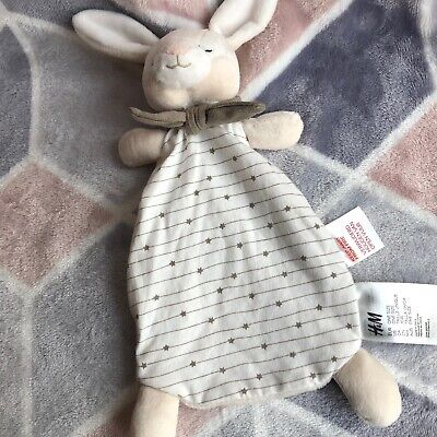NEW H&M SLEEPY BUNNY RABBIT STAR COMFORTER SOOTHER SOFT TOY WHITE CREAM NEUTRAL for sale  Shipping to Ireland