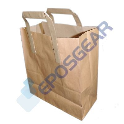 500 Large Brown SOS Kraft Takeaway Food Party Gift Paper Handle Carrier Bags