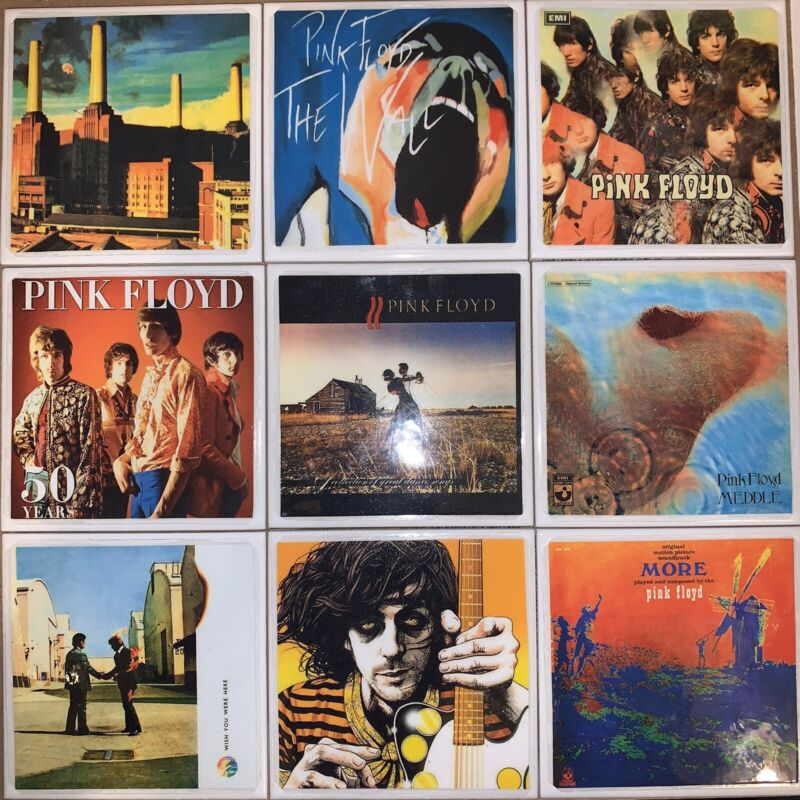 DIY 9 Handmade Coasters Album Cover PINK FLOYD Wall Animals Piper More Clouds ++