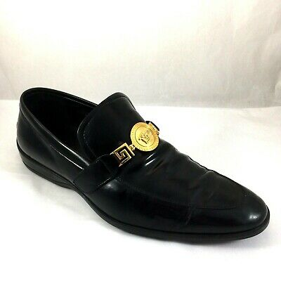Versace Medusa Loafer Black Leather Driving Shoe Gold hardware Flat 41 8 11