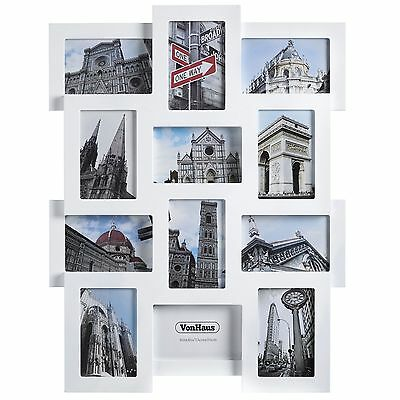 VonHaus 12x Collage Picture Photo Frames Family Home Wall Hanging 4x6 White