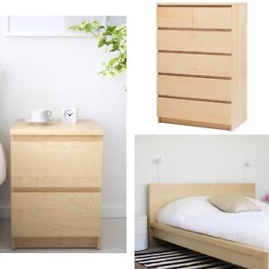 IKEA Malm double bed, 6 drawer dresser  2 night stands