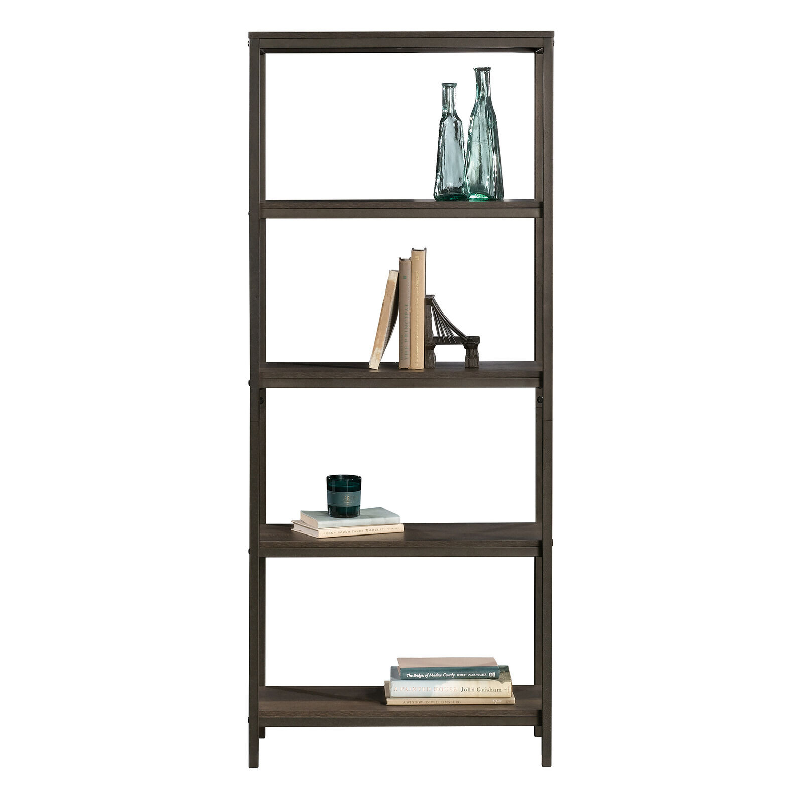 Tall Bookcase Shelves 4-Tier Display Rack Stand Storage Shelving Industrial Oak