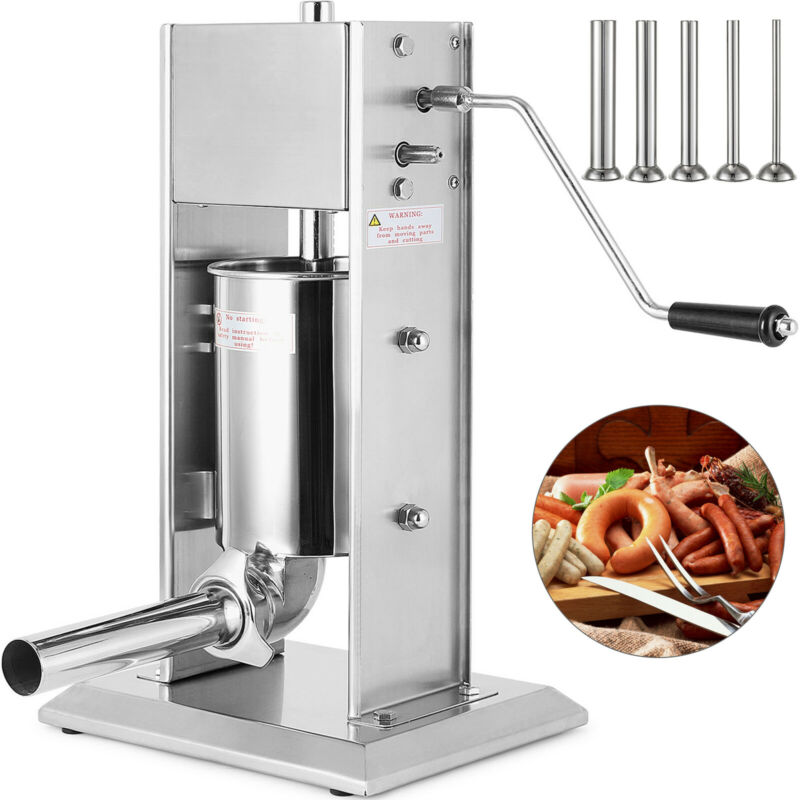 New Sausage Stuffer Vertical Stainless Steel 5L 15 Pound  Meat Filler