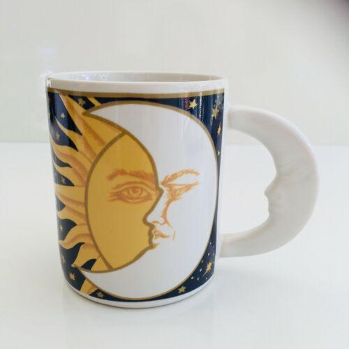 Galaxy Sun Moon Stars Coffee Mug 12 oz Vitromaster Ceramic Blue Yellow White