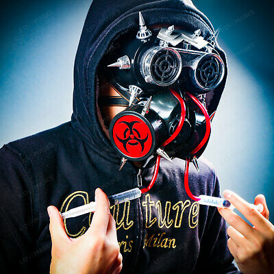 Steampunk Gas Mask Goth Halloween Costume Respirator Prop Party Cosplay Black