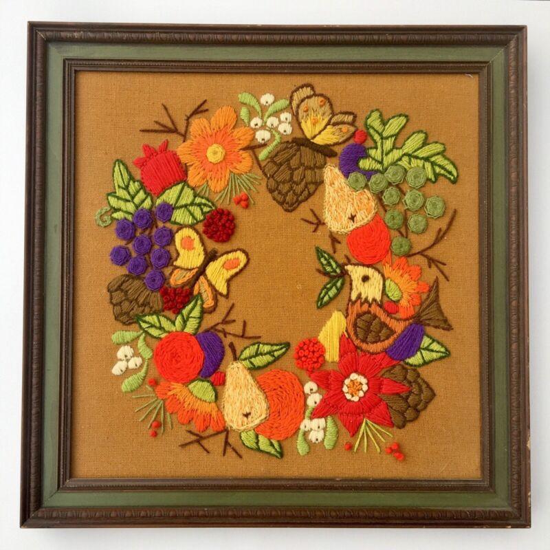 Vintage Completed Finished Crewel Embroidery Framed Floral Wreath Fruit Bird