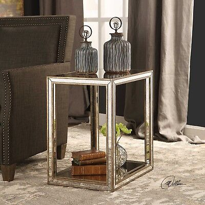 MODERN STYLE BRUSHED AGED GOLD WOOD & MOTTLED ANTIQUED MIRROR ACCENT END TABLE  for sale  Cave Creek