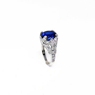 NYJEWEL Brand New 18K White Gold Blue Spinel Diamond Cocktail Ring