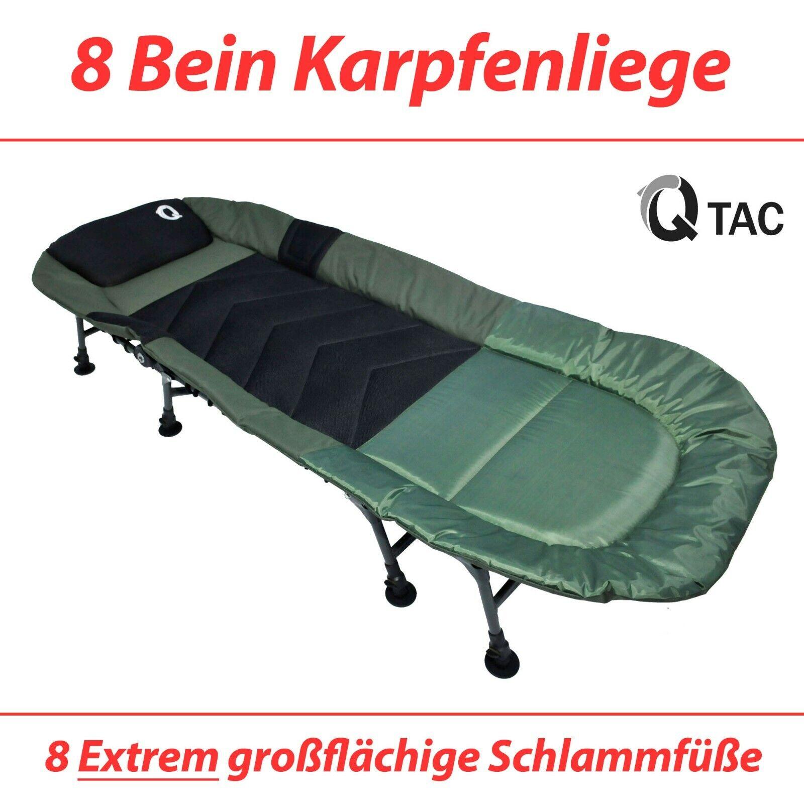 Q-Tac hochwertige Karpfenliege 8-Bein, Angelliege, Campingliege, Feldbett