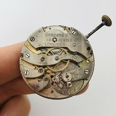 RARE LONGINES Pocket Watch Mechanism Movement Parts/Repair 15 jewels Swiss Old