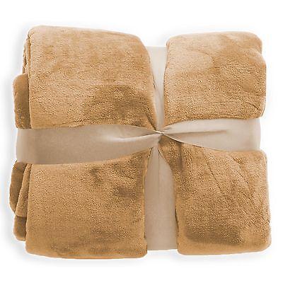 Wohndecke Sand Decke Tagesdecke Kuscheldecke Sofadecke Schlafdecke ÖkoTex  - Sand Mikrofaser Sofa