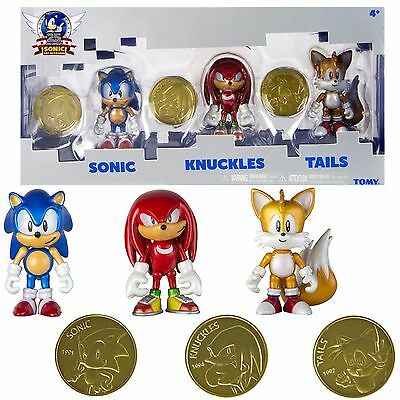 Tomy Sonic 25Th Anniversary 3  Figures 3 Pack With Coins Tails Knuckles New Usa