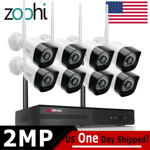 WIFI Security Camera System Wireless Outdoor 8CH NVR 8PCS Home CCTV 1080P HD Kit - $168.50