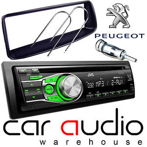 Peugeot 206 JVC CD MP3 AUX GREEN Display Car Stereo Radio Player & Fitting Kit