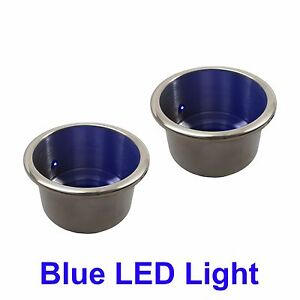 2 NEW STAINLESS STEEL CUP DRINK HOLDER WITH BLUE LED LIGHT MARINE BOAT RV CAMPER