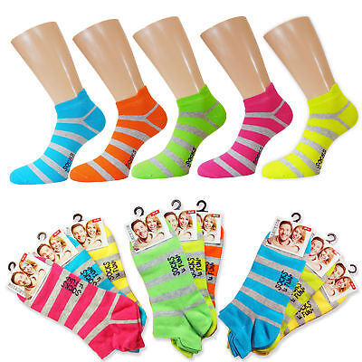 6 Paar bunte Neon Ringel Sneaker Söckchen farbige Strümpfe Socken Komfortbund