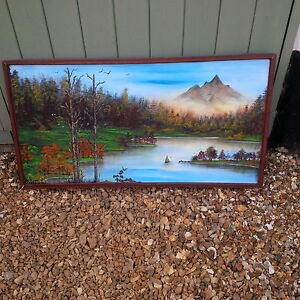 LARGE BEAUTIFUL OIL PAINTING OF MOUNTAIN TROPIC IN FRAME.  20h X 37w
