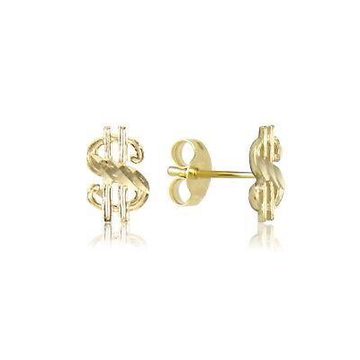 14K Solid Yellow Gold Dollar Sign Stud Earrings - $ Money Diamond Cut Women Men 14k Gold Money Sign