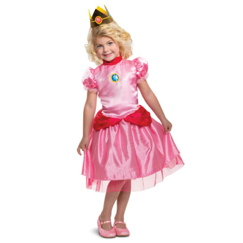 Toddler Princess Peach Super Mario Halloween Costume Dress Crown Toddler 2T 3T 4